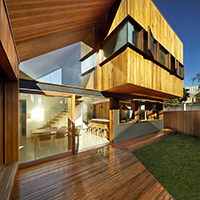 Fenwick House timber clad double height living space and north facing deck