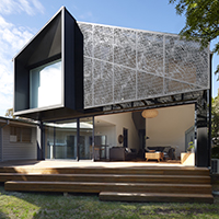 Elphin House contemporary detailed shade screens and large sliding doors